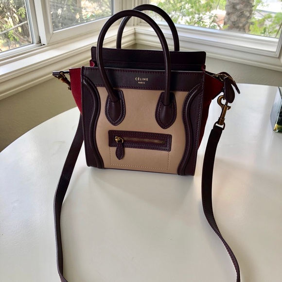 2f7f854bb9 Celine Handbags - Céline Nano Luggage Tote Burgundy Tricolor Bag